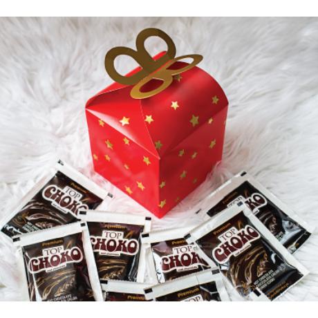Díszdobozos Forrócsokoládé Mézeskalács/Tejcsokoládé ízben 10 adag - Piros