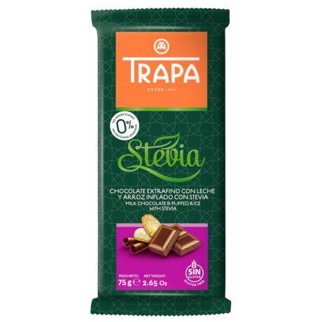Trapa Steviás tejcsokoládé puffasztott rizzsel  75g
