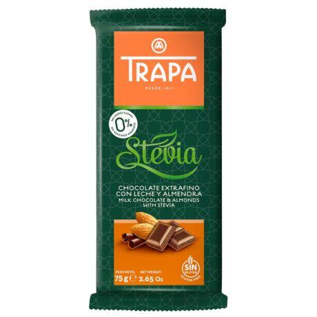 Trapa Steviás tejcsokoládé mandulával  75g