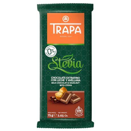 Trapa Steviás tejcsokoládé mogyoróval és édesítőszerekkel  75g